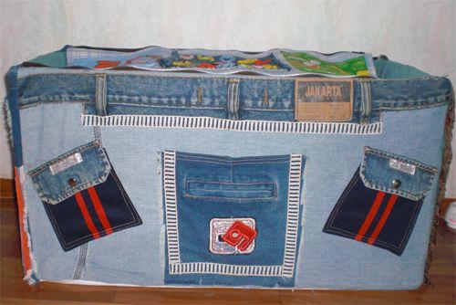коробка из старых джинсов