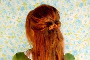 Бантик на длинные волосы фото