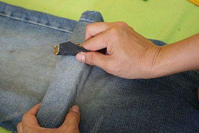 Трем джинсы на месте будущего разреза фото