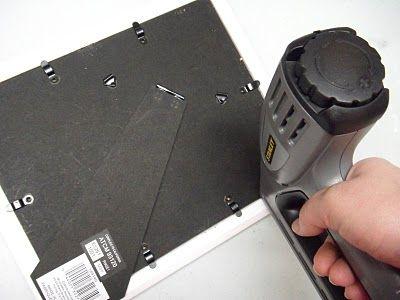 закрепляем своё панно пистолетом со скобами фото