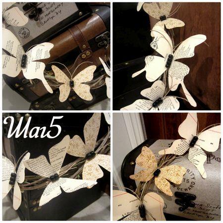 Декорируем венок с помощью бабочек