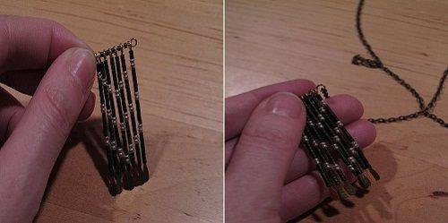 нанизываем булавки на булавку с ушком фото