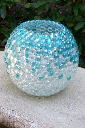 напольная ваза из мраморных шариков фото