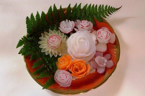 цветы из редьки