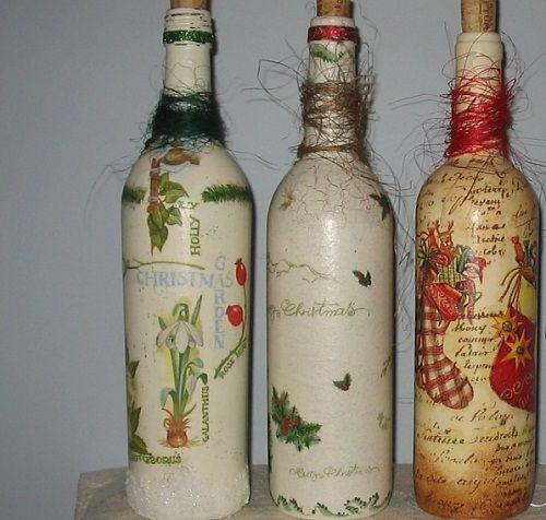 бутылки в декупаже фото