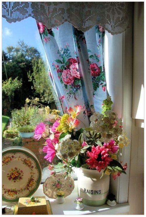 шторы кантри с цветами фото