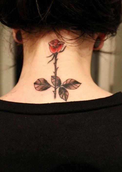 цветок тату на шее фото