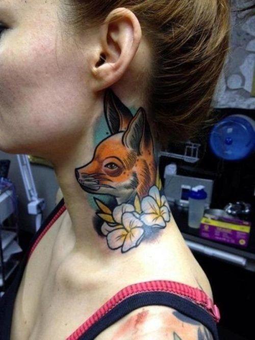 животные тату на шее фото
