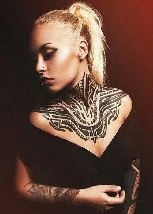 абстрактный рисунок тату на шее фото