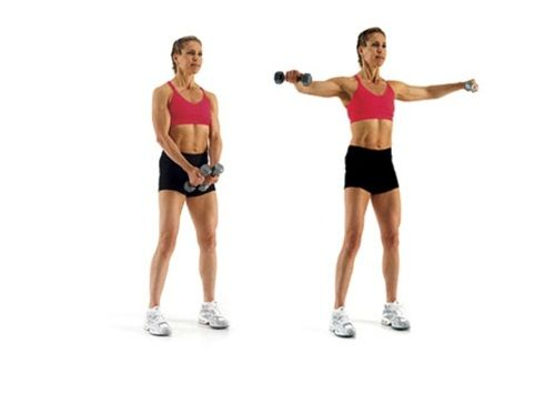 упражнение подъем гантелей в стороны фото