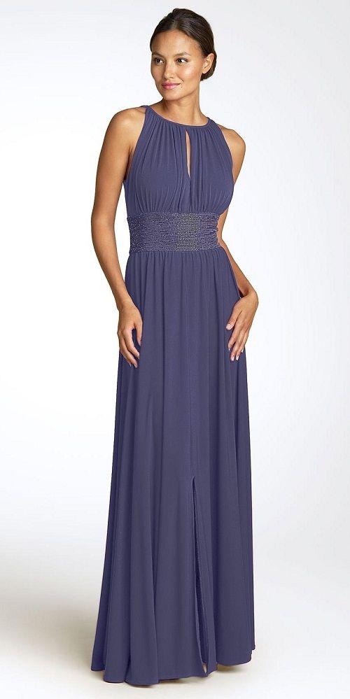 платье насыщенного цвета из шифона фото