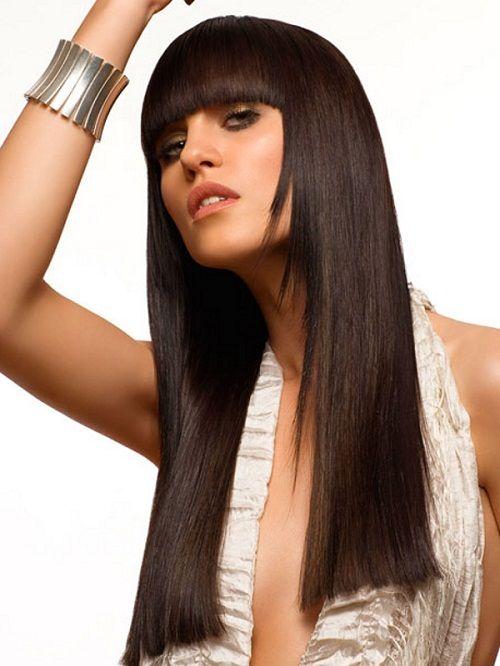 стрижка для длинных волос с челкой фото