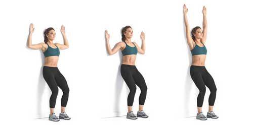 упражнение для осанки у стенки фото