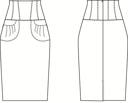 юбка-карандаш с завышенной талией фото