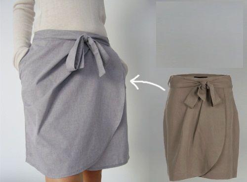 серая юбка с запахом фото