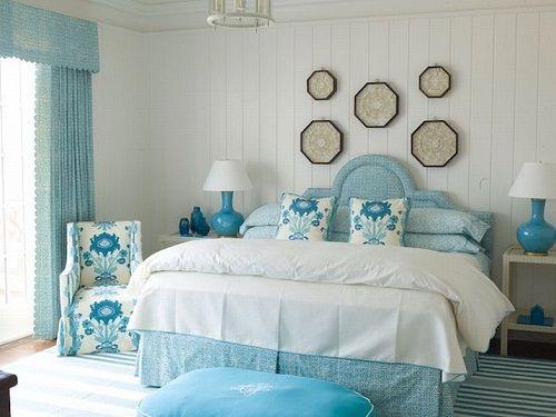 спальня в бирюзовом фото