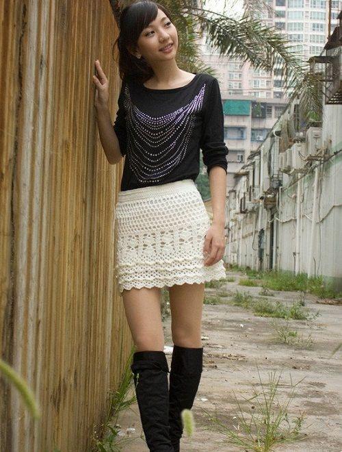 юбка-трапеция крючком фото