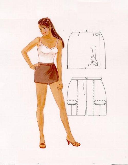 выкройка юбки-шорт с карманами фото