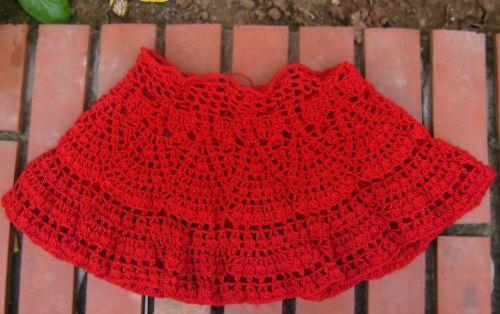 красная юбка крючком фото
