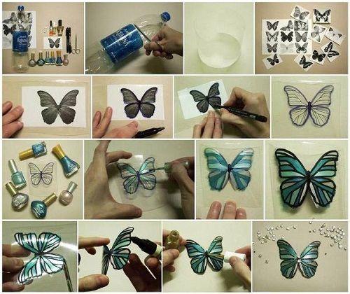 бабочка из пластмассовых бутылок фото