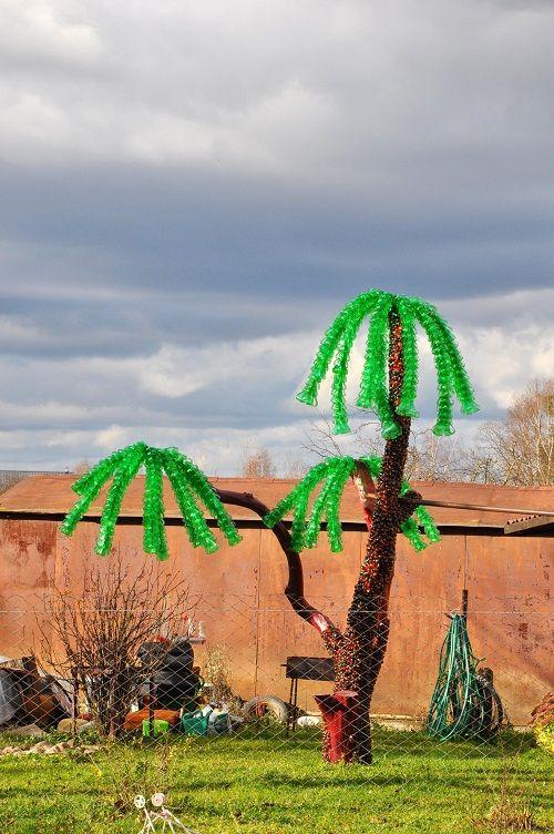 пальмы из пластмассовых бутылок фото