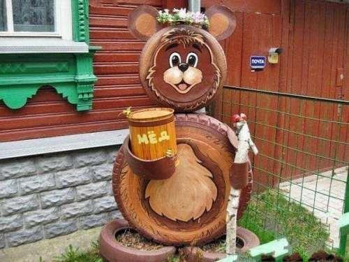 медведь из шин фото