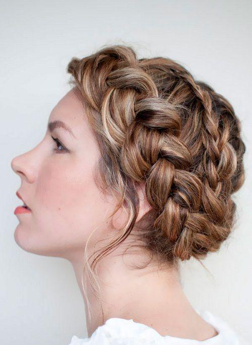 прическа с косой вокруг головы фото