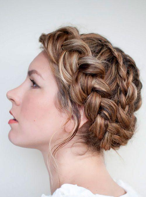 греческая коса в свадебной прическе фото