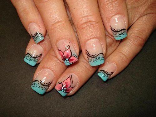 френч с рисунком на нарощенных ногтях фото