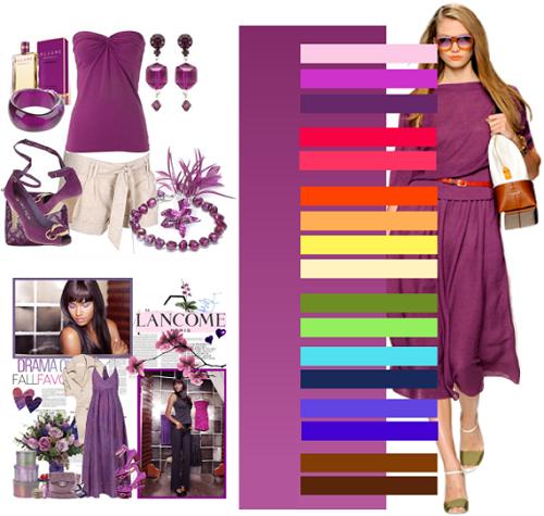 сочетание фиолетового в одежде фото