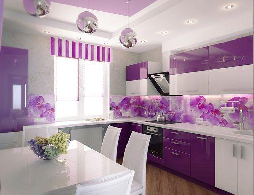 фиолетовый в интерьере кухни фото