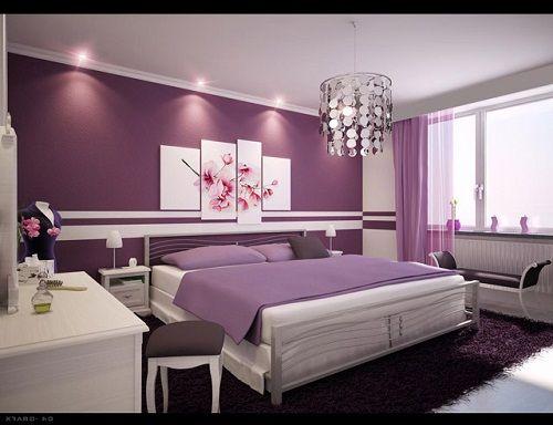 фиолетовый в интерьере спальни фото