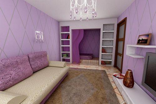 фиолетовый в интерьере гостиной фото