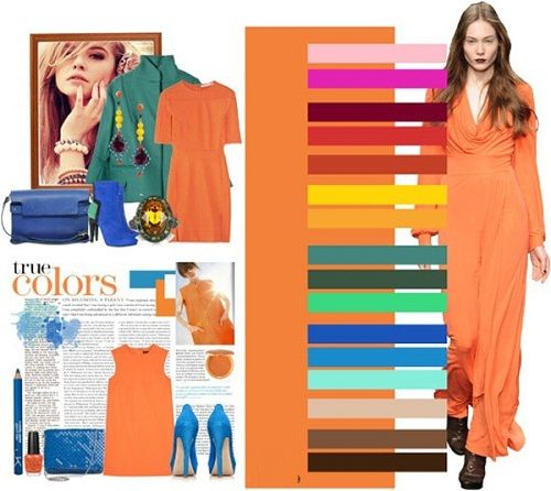 сочетание оранжевого в одежде фото