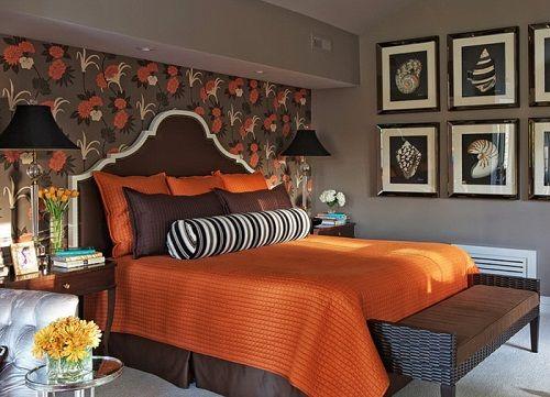 оранжевый в интерьере спальни фото