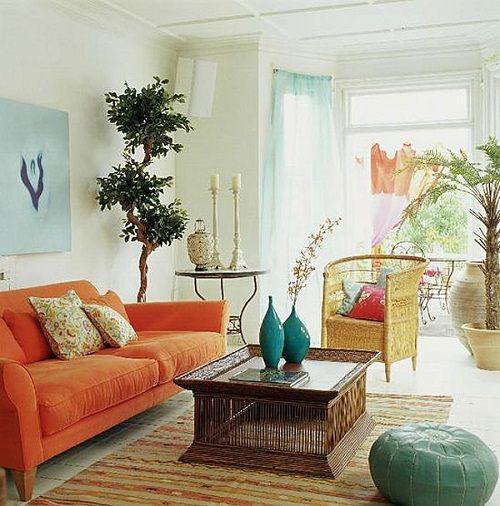 оранжевый в интерьере гостиной фото