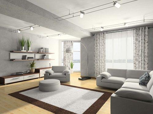 серый в интерьере гостиной фото