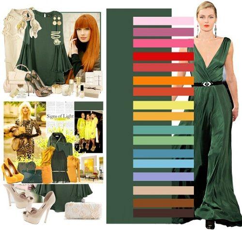 сочетание зеленых оттенков в одежде фото