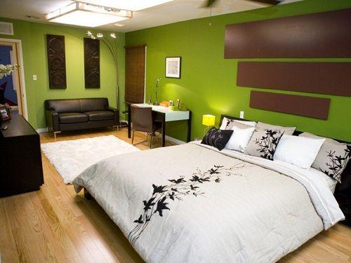 сочетание зеленого в интерьере спальни фото