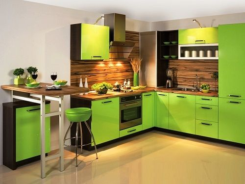 сочетание зеленого в интерьере кухни фото