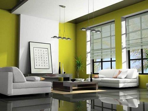 сочетание зеленого в интерьере гостиной фото