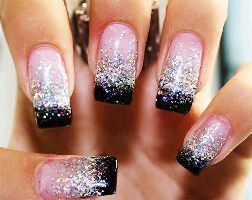 накладные ногти с блестками фото