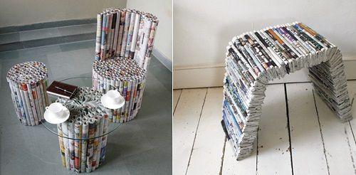 мебель из газет фото