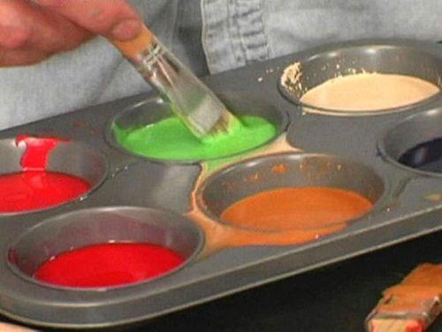смешиваем краску с воском фото